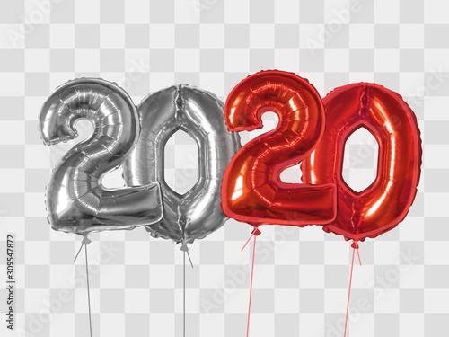 Fototapeta Silver and redfoil balloons number 2020 obraz na płótnie