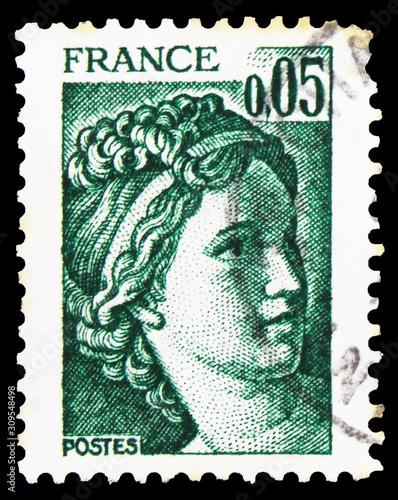 Postage stamp printed in France shows Sabine, 0 Canvas Print