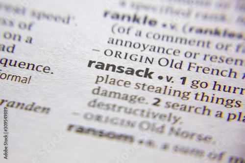Obraz na plátně  Word or phrase Ransack in a dictionary.