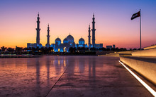 Sheikh Zayed Grand Mosque In Abu Dhabi Just After Sunset
