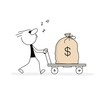 Doodle stick figure: Doodle stick figure: Man is pushing a cart with a big bag of dolar.