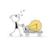 Doodle stick figure: Man is pushing a cart with a large bulb, idea.