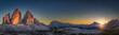 Leinwandbild Motiv Panorama of Tre Cime peaks in Dolomites at sunset, Italy
