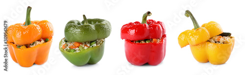 Fotografía  Set of delicious stuffed bell peppers on white background
