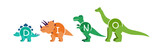 Fototapeta Dinusie - Set of cartoon dinosaurs characters - t rex etc