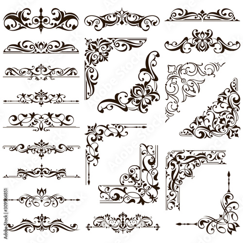 Ornamental design lace borders and corners Vector set art deco floral ornaments Tapéta, Fotótapéta