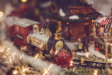 Miniature Railway With Train. Christmas Concept