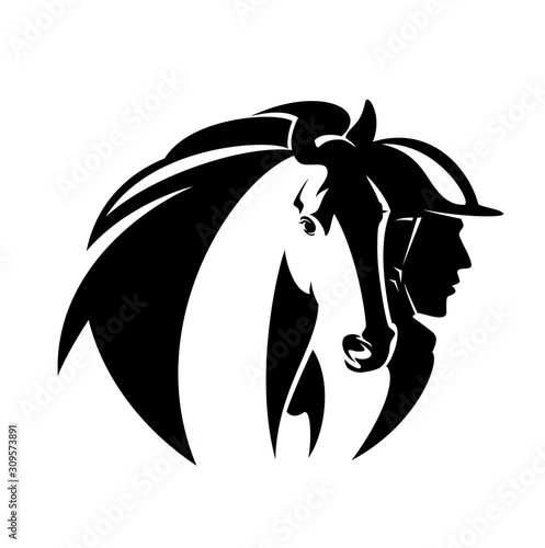Fotomural horsemanship black and white vector emblem with horse head and man athlete weari