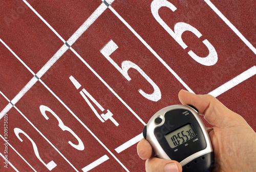 Concept de chronométrage en athlétisme Wallpaper Mural
