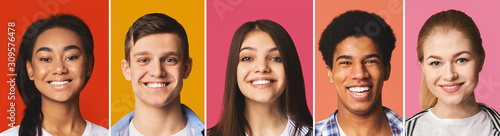 Portrait's collage. Diverse teens smiling at colorful backgrounds Canvas Print
