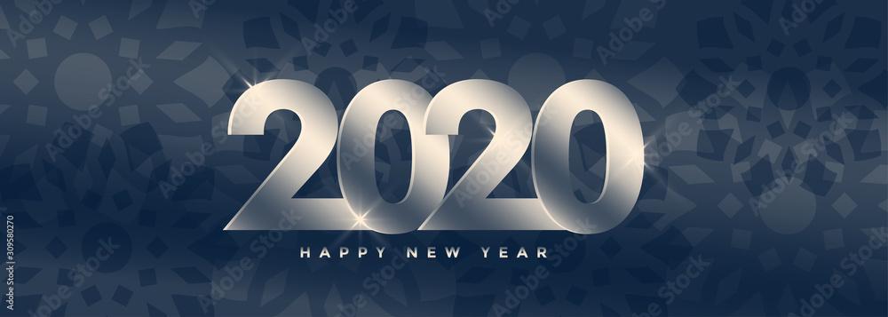elegant 2020 happy new year silver banner design