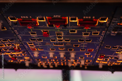 Photo Airplane buttons in the cockpit simulator