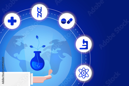 Fototapety, obrazy: Science vector illustration. Hand of scientist with plant in flask and icon around the earth.