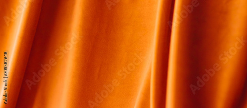 Abstract orange fabric background, velvet textile material for blinds or curtains, fashion texture and home decor backdrop for luxury interior design brand - 309582648