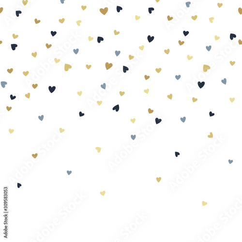 Fotografía Vector seamless boarder pattern with tiny golden and blue hearts