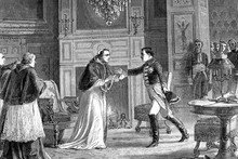 Napoleon Visits Pope Pio VII In Fontainebleau, France. The Pope Whom Napoleon Kidnapped Because He Refused To Give Them Papal States.Antique Illustration. 1890.