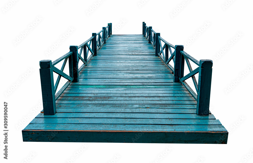 Fototapeta Old green wooden bridge isolated on white background with clipping path.