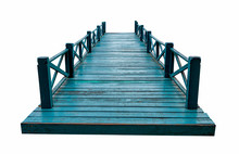 Old Green Wooden Bridge Isolat...