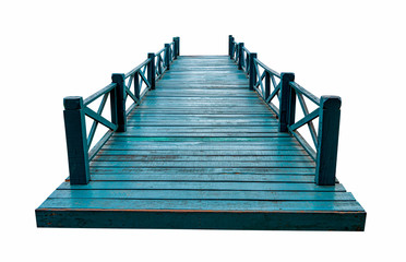 Old green wooden bridge isolated on white background with clipping path.