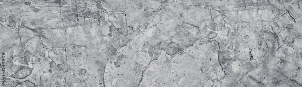 Fototapeta Broken gray concrete wide texture. Old weathered cement large panoramic grunge background