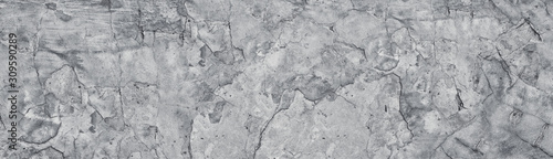 Fototapeta Broken gray concrete wide texture. Old weathered cement large panoramic grunge background obraz