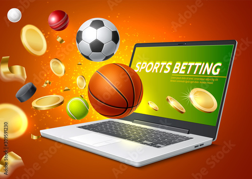 Vector online sports betting mobile app laptop Tapéta, Fotótapéta