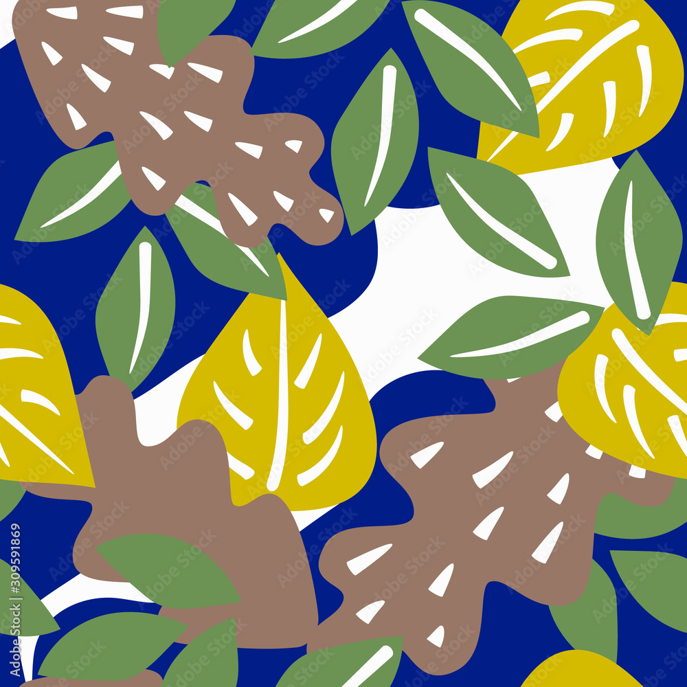 A square background of large leaves of green yellow and coffee with white accents and abstract blue figures in the Scandinavian style. Stock vector illustration.
