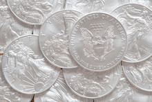 Stack Of Silver Coins American...