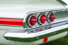 Red Tail Lights On Old Classic American Car