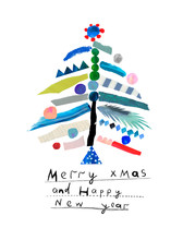 Merry Christmas And Happy New Year Creative Card