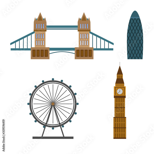 Fotomural London touristic poster with famous landmarks and symbols isolated in the white background