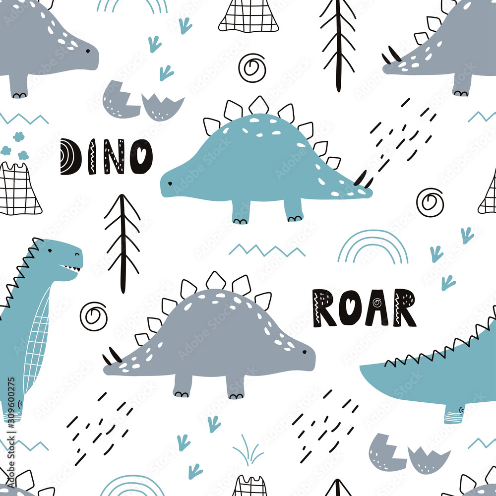 Seamless pattern with dinosaurs on white background. Vector illustration for printing on fabric, postcard, wrapping paper, gift products, Wallpaper, clothing. Cute baby background.
