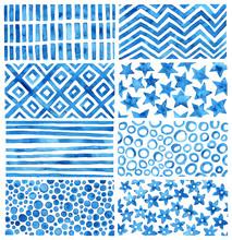 Set Of Blue Watercolor Texture...