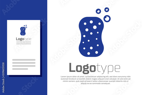Blue Sponge with bubbles icon isolated on white background Wallpaper Mural