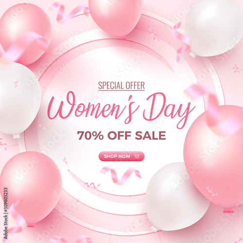 Fototapeta Women's Day Special Offer. 70% Off Sale card design with white frame, pink and white air balloons on rosy background obraz na płótnie