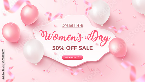 Fototapeta Women's Day Special Offer. 50% Off Sale banner design with white frame, pink and white air balloons on rosy background obraz na płótnie