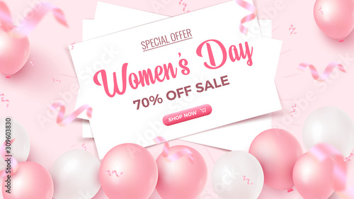Fototapeta Women's Day Special Offer. 70% Off Sale banner design with white frame, pink and white air balloons on rosy background obraz na płótnie