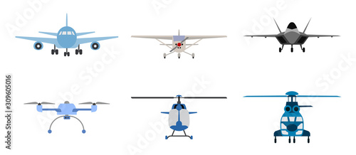 Leinwand Poster Airplane, Helicopter and drone symbols presented as flat icons