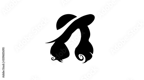 Silhouette of a girl's profile. Woman face silhouette. #309605690