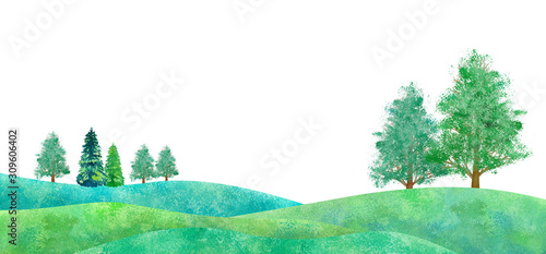 Photo 新緑の平原の風景、水彩イラスト