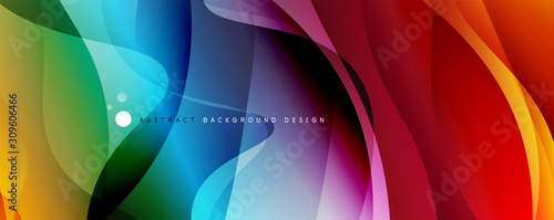 Fototapeta Trendy simple fluid color gradient abstract background with dynamic wave line effect. Vector Illustration For Wallpaper, Banner, Background, Card, Book Illustration, landing page obraz