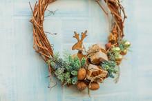 Christmas Wreath. Twigs, Spruc...