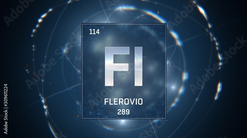 Fotografia  3D illustration of Flerovium as Element 114 of the Periodic Table