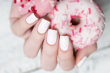 White Pattern Manicure With A ...