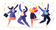 Happy colleagues, business people, managers team celebrating success or corporate holiday. Young people men and women jumping and dancing with hands up. Cartoon flat vector illustration.