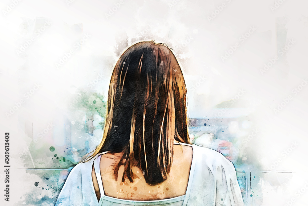 Abstract colorful beautiful Asia woman smile portrait on watercolor illustration painting background.