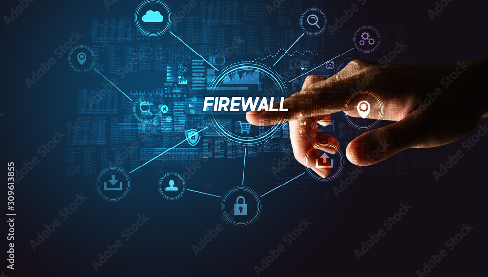 Fototapeta Hand touching FIREWALL inscription, Cybersecurity concept