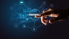 Hand Touching FIREWALL Inscrip...
