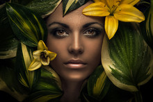 Woman Face And Flowers, Flower...