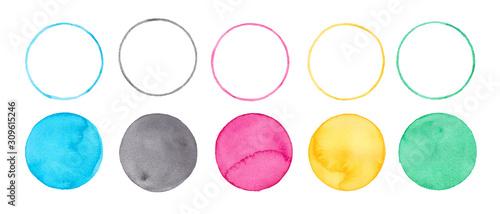 Fotomural  オリンピック五輪カラー、水彩まるのグラフィック素材トレースベクター